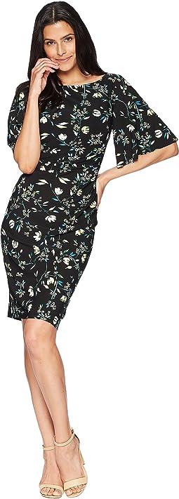 Floral Jersey Flutter-Sleeve Dress