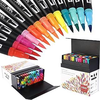 100 Colores Rotuladores Punta Fina, Acuarelables Marcadores de Pincel para Niños y Adultos Dibujo, Caligrafía, Lettering, ...