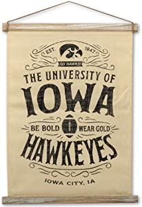 Open Road Brands University of Iowa Hawkeyes Canvas Banner Wall Décor - Large 18 Inch x 27 Inch Sign for Office, Dorm Room or Man Cave