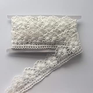 """ELLAMAMA White Color Embroidered Lace Trim Lace Ribbon 1-3/8"""" x 5 Yards Flora Flower Pattern with Scalloped Edge,for Home Decoration,Wedding Decoration,DIY Sewing Craft,Hat Making & Hair Crafts etc"""