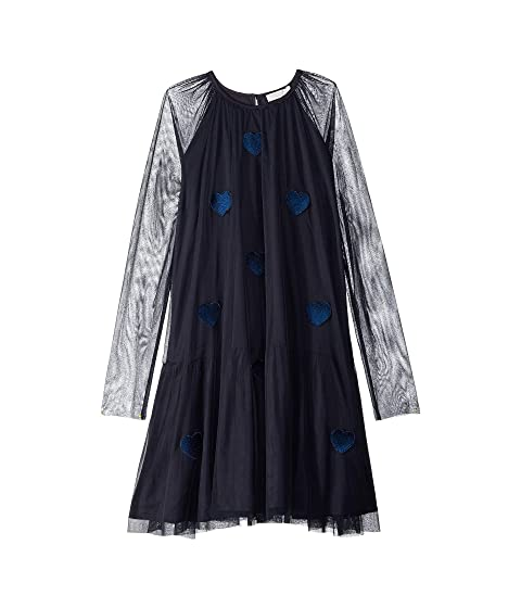 Stella McCartney Kids Misty Long Sleeve Heart Tulle Dress (Toddler/Little Kids/Big Kids)