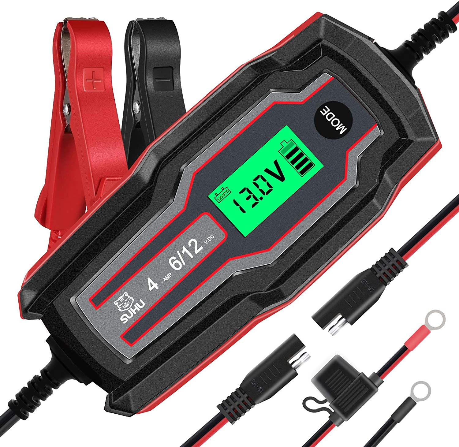 SUHU Car Battery Charger, 6V/12V 4 Amp Charger Automotive Trickle Red