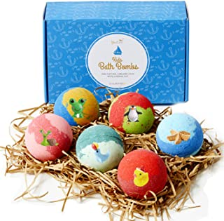YouCare Organic XL Kids Bath Bombs w/Surprise Toys Inside for Boys & Girls, Fun Colored Lush Bath Bombs with Essential Oils - Vegan, Natural & Safe Handmade Bath Fizzies for Kids, Pack of 6
