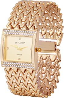 Skylofts Analog Dial Watch-18k Gold Plated Women Watches