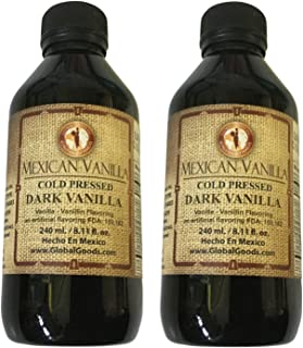 Dark Mexican Vanilla Authentic Natural Cold Pressed 240 ml (8.11 oz) 2 Pack Bundle