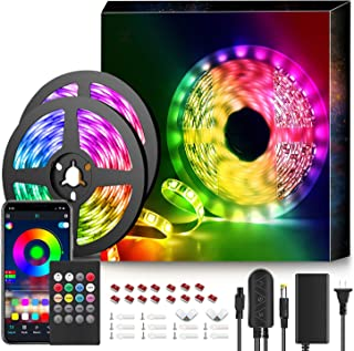 50Ft LED Strip Lights Music Sync Color Changing RGB LED Strip 20-Key Remote, Sensitive Built-in Mic, App Controlled Color Changing Rope Lights, 5050 RGB LED Light Strip(APP+Remote+Mic+3 Button Switch)