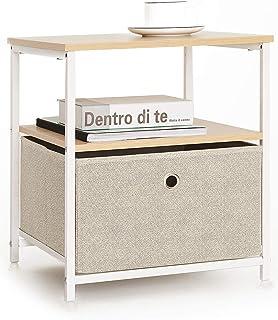 Table de Nuit avec 1 Tiroir 1 Étagère en Tissu Table de Chevet Cube Table d'appoint Petite Meuble de Rangement Armoire Met...