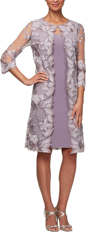 Alex Evenings Women's Midi Scoop Neck Shift Dress with Jacket (Petite and Regular)