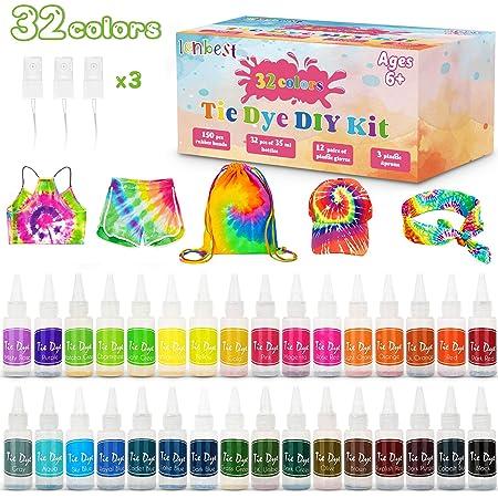 lenbest 32 Color Tie Dye Kit, Tie-Dye Kit Tinte para Ropa, con 150 Bandas de Goma 12 Guantes Plástico, Pinturas Textiles de Tela, Kit de Tinte ...