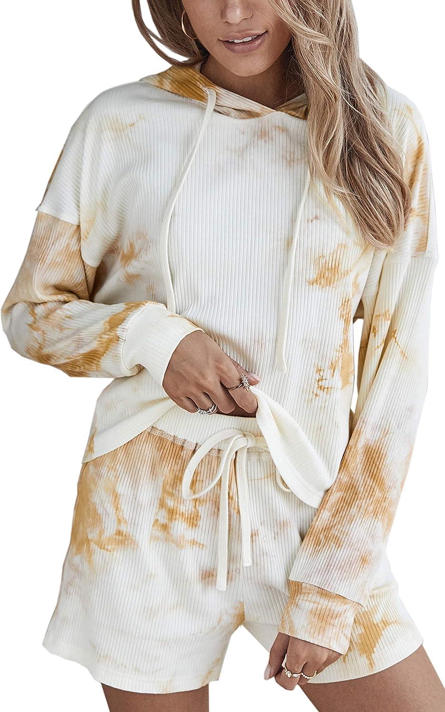 CinShein Women's Pajamas Tie Dye Printed Crew Neck Long Sleeve Top Shorts Loungewear Nightwear Sleepwear