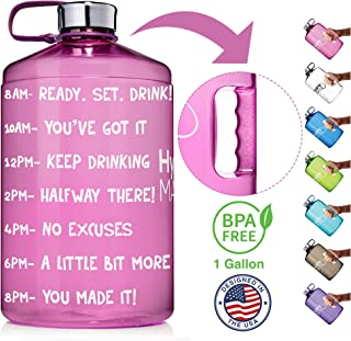 NatureWorks HydroMATE Gallon Motivational Water Bottle with Time Marker Large BPA Free Jug with Handle Reusable Leak Proof Bottle Time Marked to Drink More Water Daily 128oz
