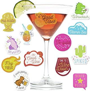 Paper Junkie 47-Count Reusable Wine Drink Glass Sticker Cling Markers, 4 Sheets, Assorted Designs