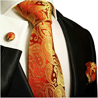 Paul Malone Necktie, Pocket Square and Cufflinks 100% Silk Gold Red Paisley