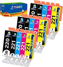 Double D Compatible Canon 220 221 Ink Cartridges Replacement for Canon PGI-220 PGI220 CLI-221 CLI221, Work with PIXMA MX86...
