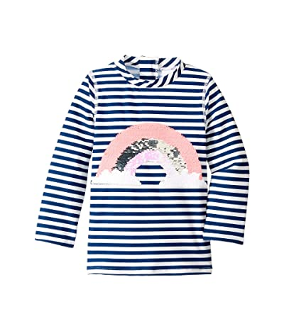 shade critters Sequin Rainbow Raglan Sleeve Rashguard (Toddler) (Navy) Girl