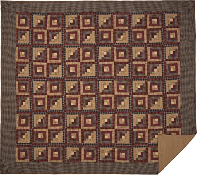 VHC Brands Millsboro Luxury King Quilt 120Wx105L Log Cabin Country Rustic Lodge Design, Burgundy