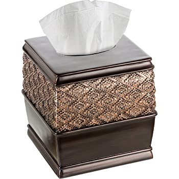 Creative Scents Square Tissue Box Cover Bathroom Accessories TBB-44228 Decorative Tissue Holder is Finished in Beautiful Silver Colored Mosaic Glass