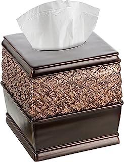 Creative Scents Dublin Square Tissue Box Cover (6 x 6 x 6.2 H) Decorative Bathroom Tissues Paper Holder Modern Napkins Con...