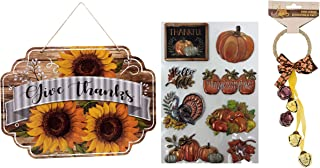 Fall Thanksgiving Give Thanks Get Together Board Sign Door Wall Hanging Decoration, Harvest Blessings Door Knob Bell & 3D Stickers for Indoor Outdoor Decorations Autumn Thanksgiving Hanger Decor