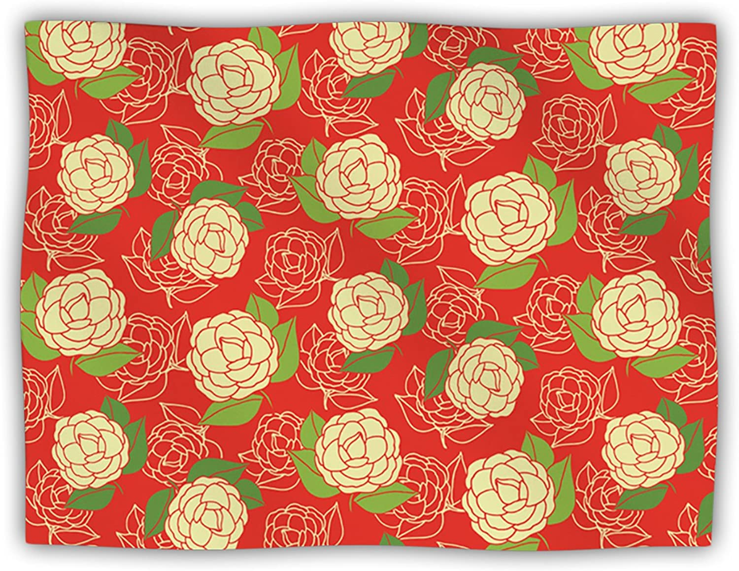 Kess InHouse Holly Helgeson  Cammelia Red Yellow  Dog Blanket, 60 by 50Inch