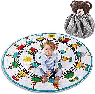 Winthomeベビープレイマット キッズ 遊びマット おもちゃ収納袋 片付けマット ブロック収納マット 綿素材 滑り止め付き 直径150cm (4)