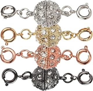 Trenton Gifts Magnetic Rhinestone Circle Jewelry Clasps   Set of 4   Silver Gold Rose Black Tones