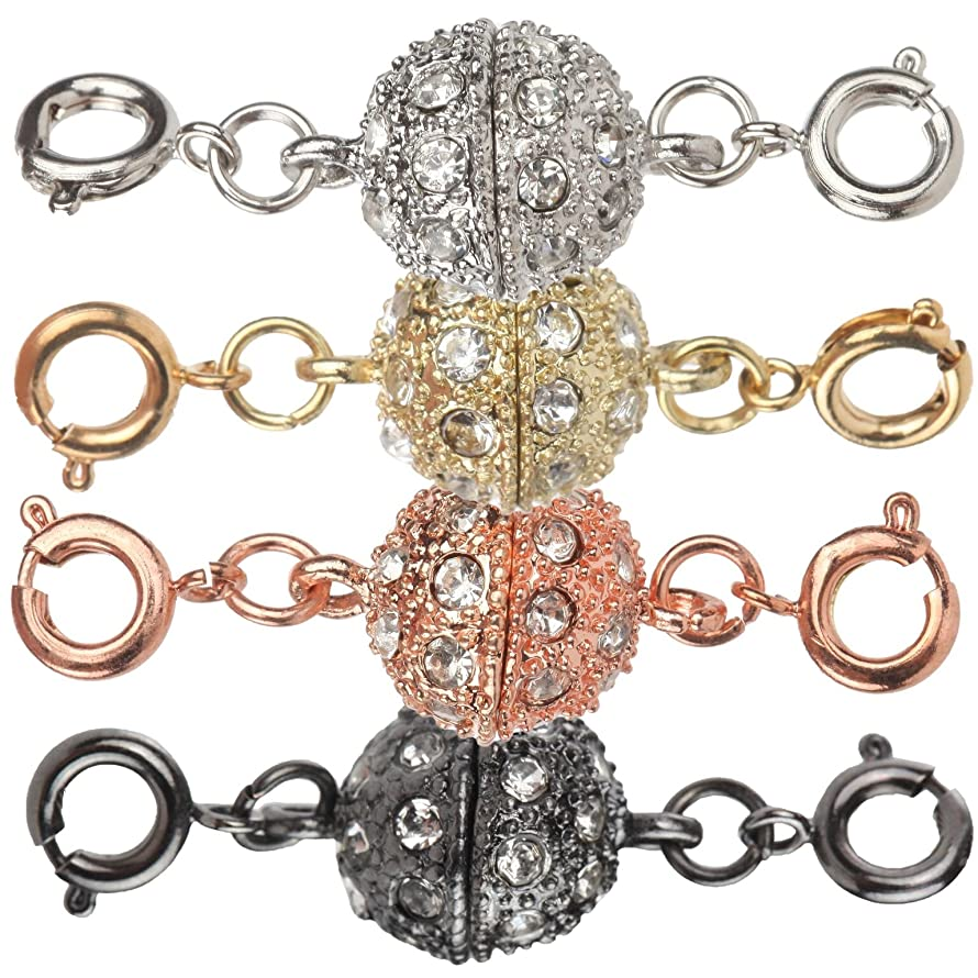 Trenton Gifts Magnetic Rhinestone Circle Jewelry Clasps | Set of 4 | Silver Gold Rose Black Tones