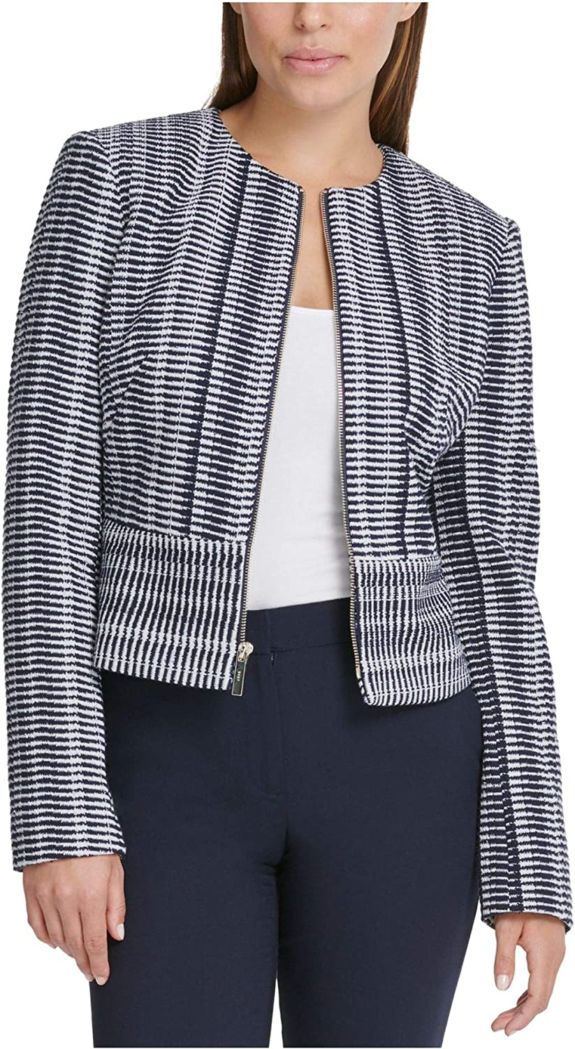 DKNY Womens Blue Printed Zip Up Wear To Work Jacket Size 4