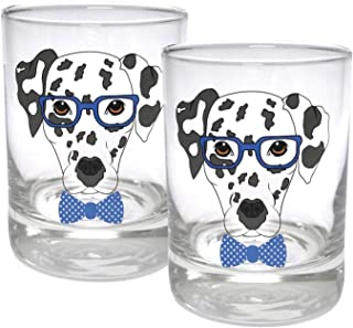 Circleware 15501 Dalmatian Dogs Double Old Fashioned Whiskey, Set of 2 Kitchen Drinking Glasses Glassware for Water, Juice, Beer and Best Bar Barrel Liquor Dining Decor Beverage Gifts, 11.25 oz, Blue,