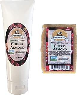 Goat Milk Soap and Lotion Duo - Handcrafted, Artisan - You'll be astonished at how wonderful your skin can feel! (Cherry Almond)