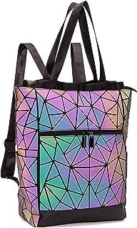 FZChenrry Geometrische Tasche Geometrischer Rucksack Damen Leuchtender Holographic Rucksäcke Reflektierend Festival Beutel...