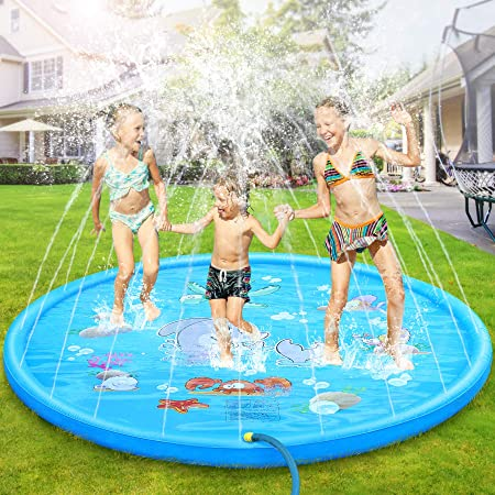 Blue EJOY Sprinkle Splash Play Mat for Pet Kids 59/'/' Thickened Durable Pet Dog Bath Pool Swimming Water Play Sprinklers Mat Summer Water Toys Fun for Dog Outdoor Sprinkler Toy Splash Pad