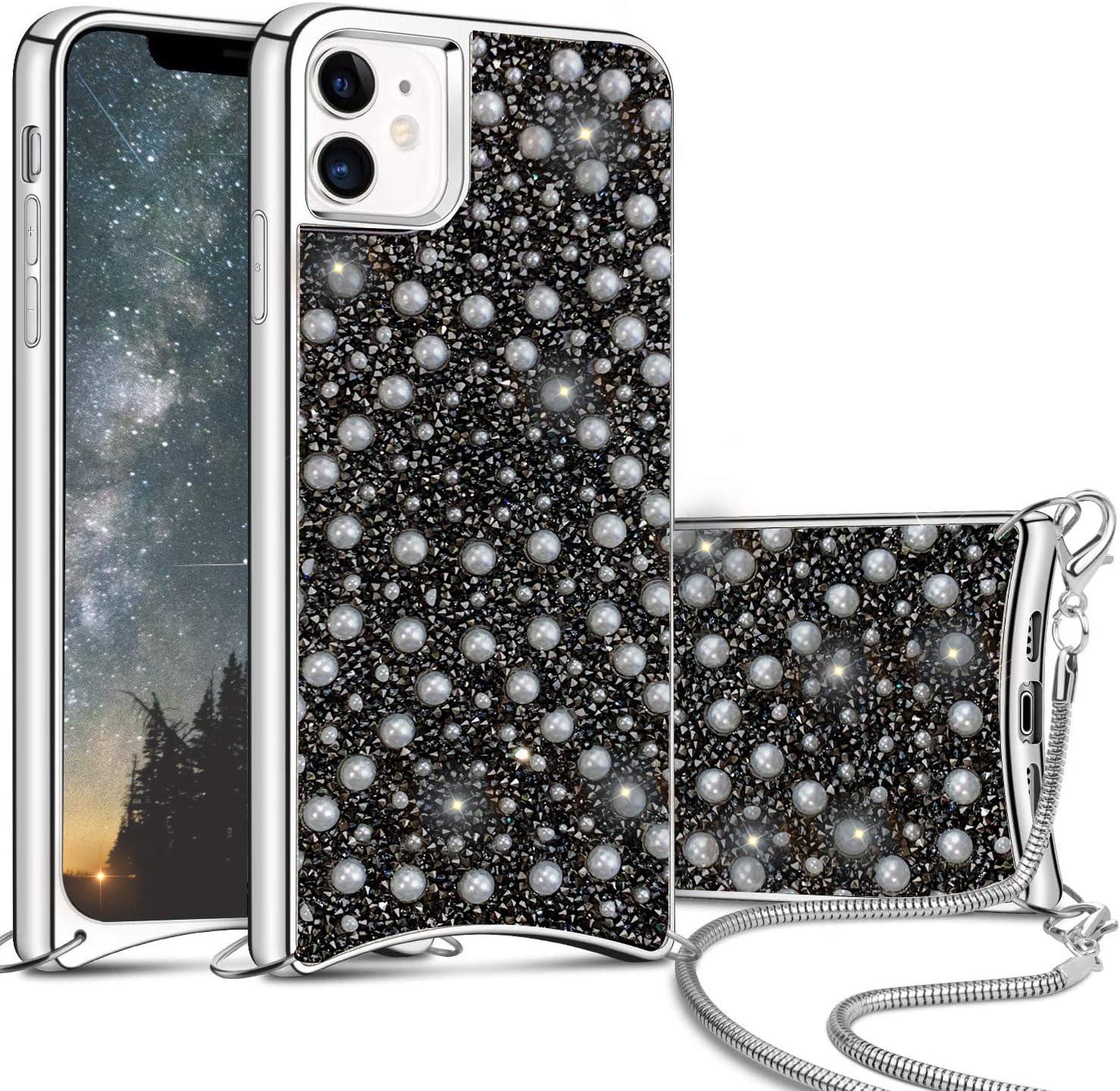 Valentoria iPhone 11 Case,Sparkle Glitter Case with Pearl Rhinestone,Bling Diamond Bumper Crossboday Chain Case Slim Protective Apple iPhone 11 6.1