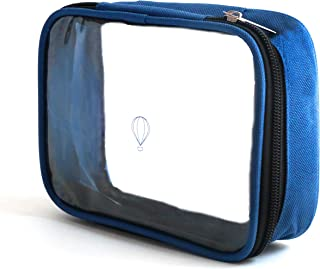 Wanderwind Premium SMALL TSA Approved Clear Durable Toiletry Bag for Domestic/International Travel   Quart Size 3-1-1 Compliant Toiletries/Cosmetics/Accessories in Carry-On Luggage (SMALL, Navy Blue)