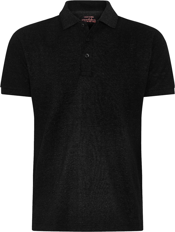 lulo Men's Short Sleeve Pique Polo Shirt, Medium Dark Grey