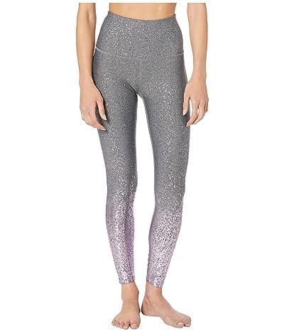 Beyond Yoga Alloy Ombre High-Waisted Midi Leggings (Black/White Shiny Mauve Speckle) Women