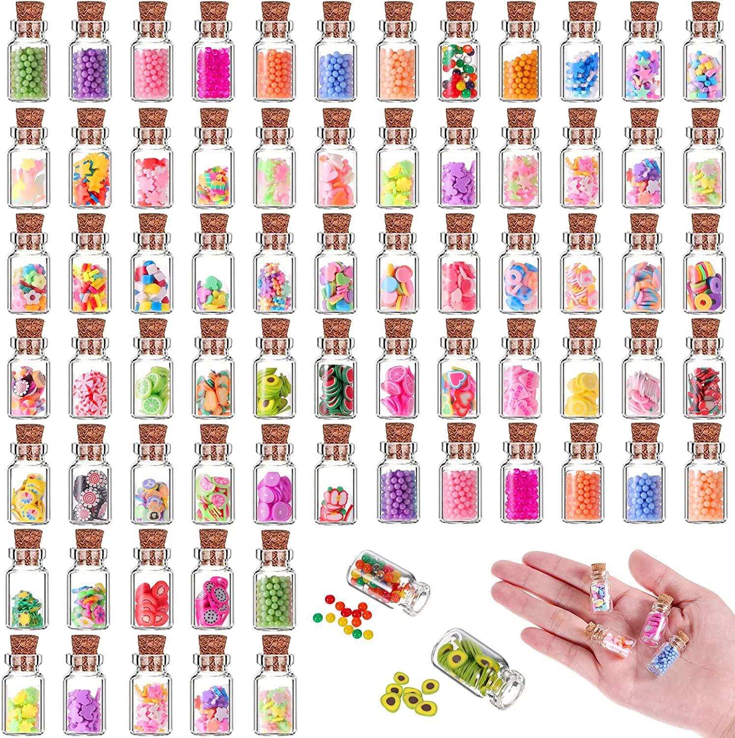 70 Pieces Cute Miniature Dollhouse Food Jar Glass Bottle 1:12 Pretend Play Doll House Kitchen Decoration 1:6 Fruit Candy Snack Mold Mini Kitchen Food Model Dollhouse Accessories for Girls Kids Boys