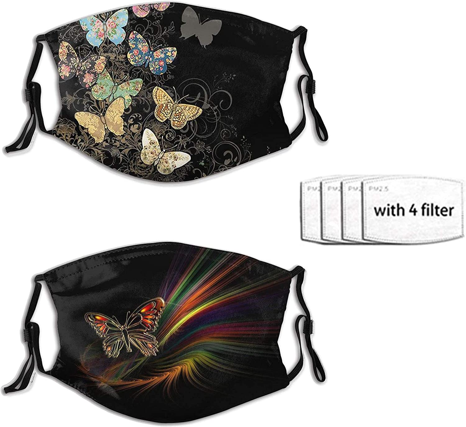 2pcs Butterfly Face Mask Reusable Washable Adjustable Bandanas Fashion Scarf For Adult With 4 Pcs Filters