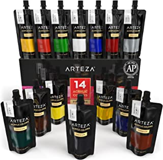 ARTEZA Acrylic Paint, Set 14 Colors/Pouches (120 ml/4.06 oz.) with Storage Box, Rich Pigments, Non Fading, Non Toxic Paints for Artist, Hobby Painters & Kids, Ideal for Canvas Painting