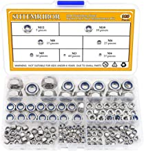 Sutemribor 304 Stainless Steel Lock Nut Assortment 180 Pcs, M3 M4 M5 M6 M8 M10 M12 Nylon Insert Locknut