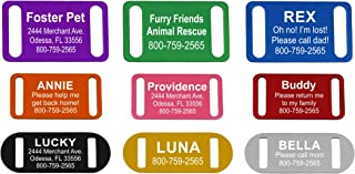 Providence Engraving Custom Slide-On Pet ID Tag - Personalized Anodized Aluminum Slide-On Dog Tag or Cat with 9 Vibrant Colors, 3 Sizes, and Up to 4 Lines of Engraved Text