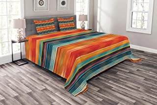 Lunarable Mexican Bedspread, Abstract Vibrant Vintage Aztec Motif Gradient Blurred Lines Ecuador Crafts Image, Decorative Quilted 3 Piece Coverlet Set with 2 Pillow Shams, King Size, Orange Purple