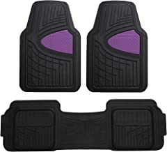 FH Group F11511 Car Floor Mats All-Weather Heavy Duty Tall Channel Full Set Mats w, Universally Designed for Trucks, Cars, SUVs, All Automobiles-Purple/Black