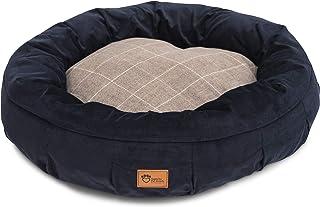 Superior Pet Goods Harley Bed Corduroy Check Dog Bed, Chocolate/Navy, Medium