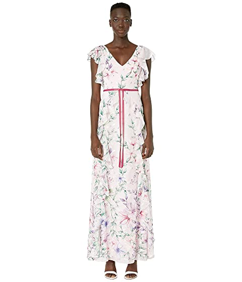 Marchesa Notte Short Sleeve V-Neck Printed Chiffon Gown