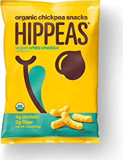 HIPPEAS Organic Chickpea Puffs + Vegan White Cheddar | 1.5 ounce, 12 count | Vegan, Gluten-Free, Crunchy, Protein Snacks