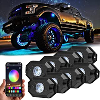 RGB LED Rock Lights Kit, Yvoone-Auto Underglow Neon LED Lights Kit 8 Pods Bluetooth Controller, Timing, Flashing, Music Mode Waterproof RGB led lights For Car Jeep Truck SUV ATV - 8 Pods