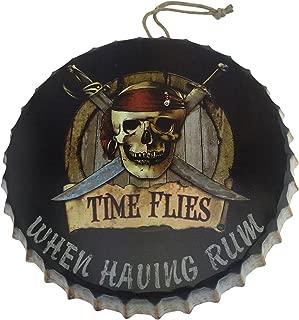Pirate Skull and Crossbones Metal Bottle Cap Hanging Sign for Bar