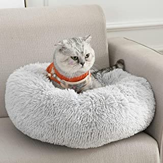 BPEDT Dog Bed Cat Bed Donut, Anti Anxiety Pet Bed Plush Warming Cozy Machine Washable Dog Bed Round, Improve Sleeping Calm...