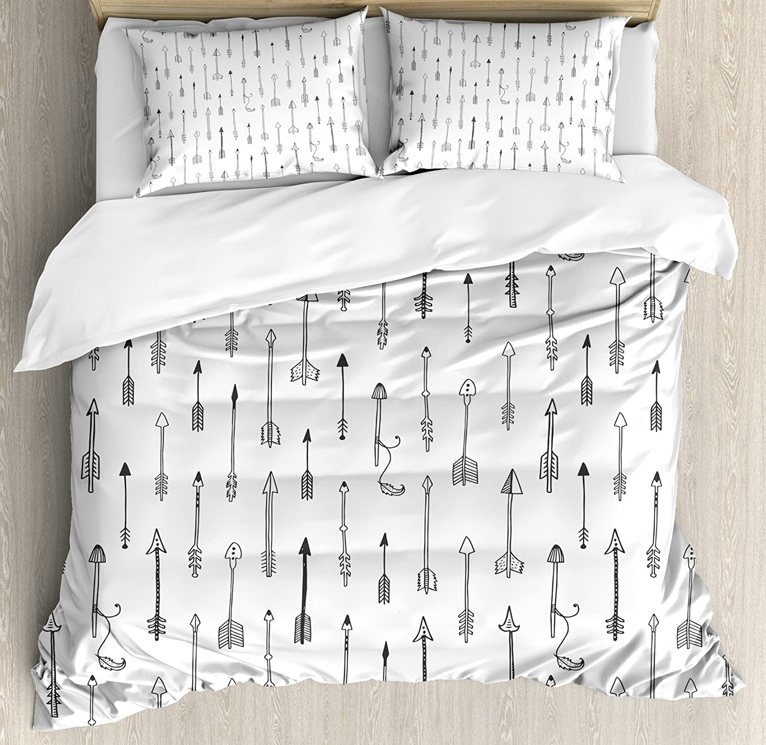 Arrow Decor Duvet Cover Set by Ambesonne, Nostalgic Tribal Weapons Style Contemporary Graphic of Retro Native Arrows Culture Art, 3 Piece Bedding Set with Pillow Shams, Queen Full, Black White